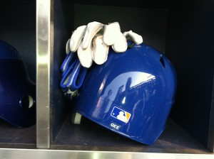 Dillon Gee's helmet and batting gloves
