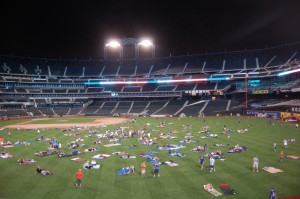 Aftermath of a Civil War reenactment? Nah, it's the Citi Field Sleepover.