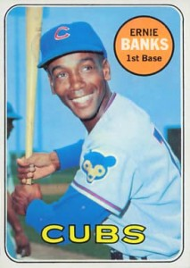 Ernie Banks on a 1969 baseball card shot at Shea Stadium. No way it wasn't a beautiful day.