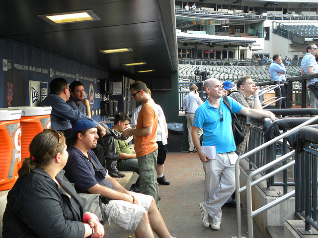Mets bloggers in the dugout at Citi Field
