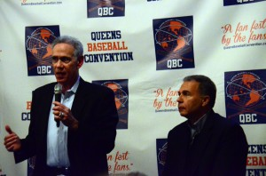 Art Shamsky (speaking) and Gil Hodges, Jr., at QBC 14. (Photograph by Sharon Chapman.)